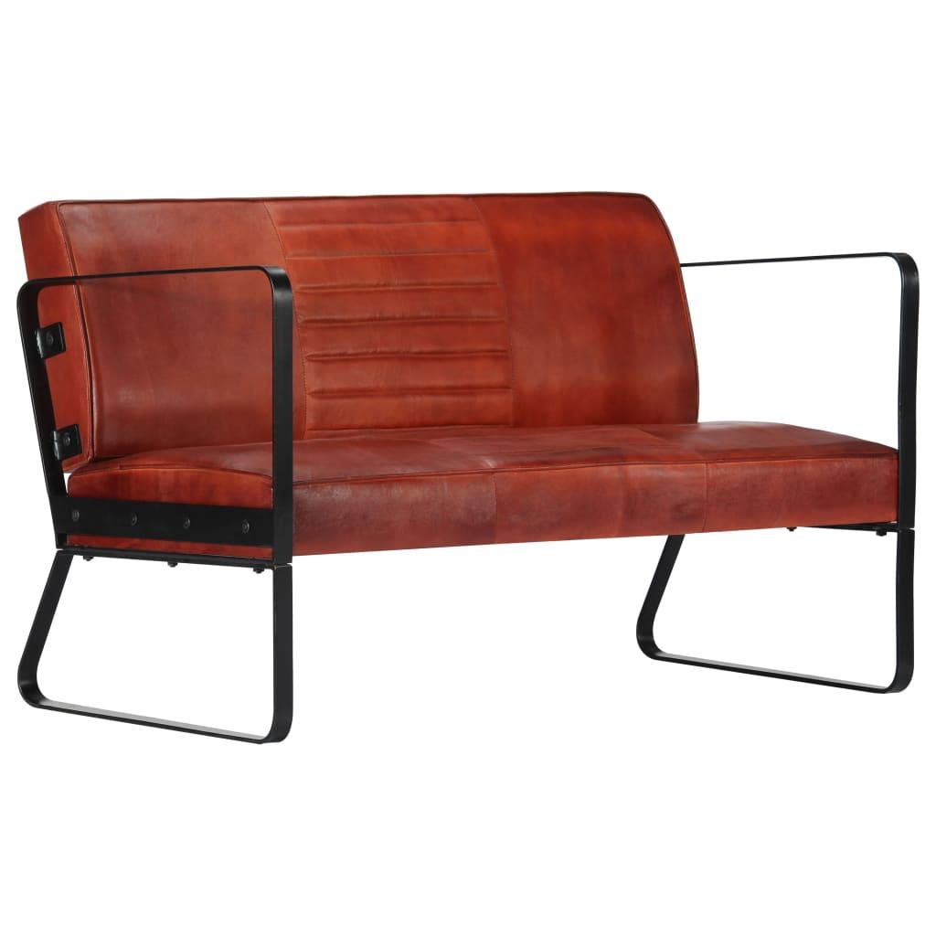 vidaXL 2-osobowa sofa, brązowa, skóra naturalna
