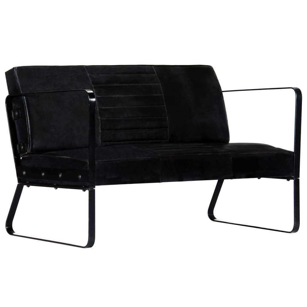 vidaXL 2-personers sofa ægte læder sort