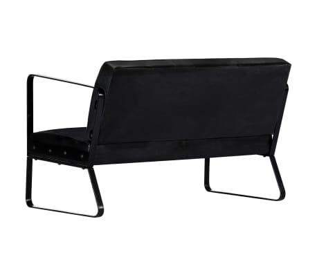 vidaXL Sofá de 2 plazas cuero auténtico negro[3/8]