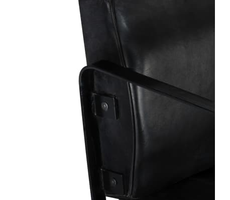 vidaXL Sofá de 2 plazas cuero auténtico negro[6/8]