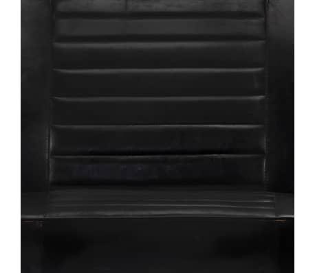 vidaXL Sofa 2-osobowa, czarna, skóra naturalna[7/8]