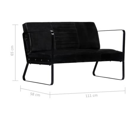 vidaXL Sofá de 2 plazas cuero auténtico negro[8/8]