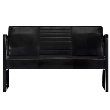 vidaXL Sofa 2-osobowa, czarna, skóra naturalna[2/8]