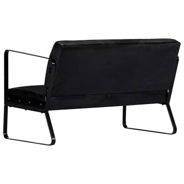 vidaXL Sofa 2-osobowa, czarna, skóra naturalna[3/8]