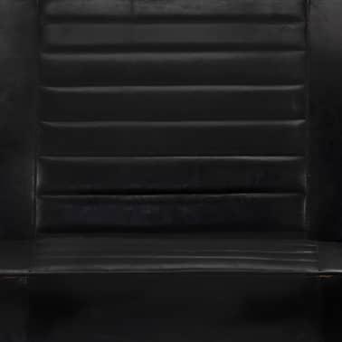 vidaXL Sofá de 2 plazas cuero auténtico negro[7/8]