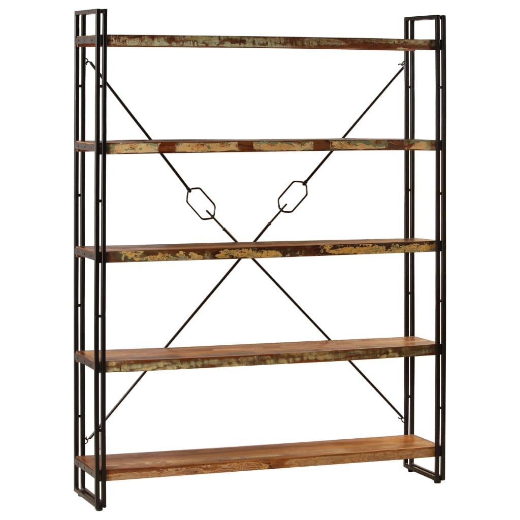 vidaXL 5 szintes tömör újrahasznosított fa könyvespolc 180x30x140 cm