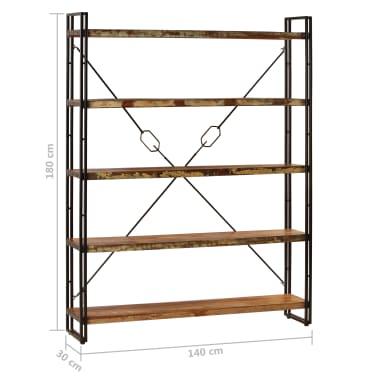 vidaXL Regał na książki, 5 półek, 140x30x180 cm, lite drewno z odzysku[10/15]