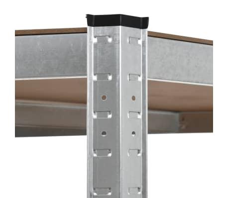 vidaXL Polica za shranjevanje jeklo in MDF 90x90x180 cm srebrna[5/8]