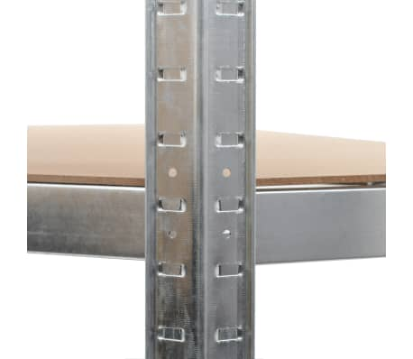 vidaXL Polica za shranjevanje jeklo in MDF 90x90x180 cm srebrna[7/8]
