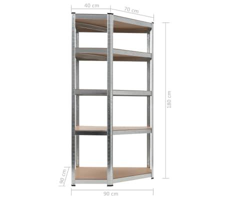 vidaXL Estantería de acero y MDF 90x90x180 cm plateado[8/8]