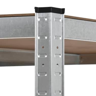 vidaXL Estantería de acero y MDF 90x90x180 cm plateado[5/8]