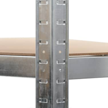 vidaXL Estantería de acero y MDF 90x90x180 cm plateado[7/8]