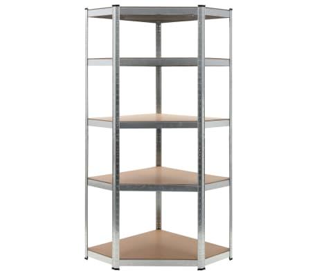 """vidaXL Storage Shelf Silver 29.5""""x29.5""""x70.9"""" Steel and MDF"""
