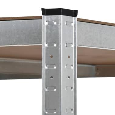 vidaXL Polica za shranjevanje jeklo in MDF 75x75x180 cm srebrna[5/8]