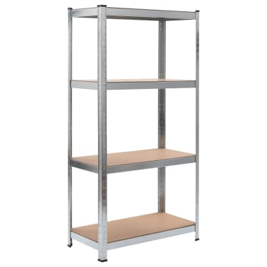 "vidaXL Storage Shelf Silver 31.5""x15.7""x63"" Steel and MDF[1/8]"