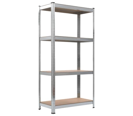 "vidaXL Storage Shelf Silver 31.5""x15.7""x63"" Steel and MDF[3/8]"