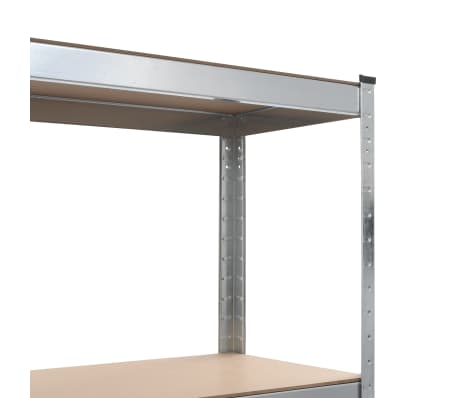 "vidaXL Storage Shelf Silver 31.5""x15.7""x63"" Steel and MDF[6/8]"