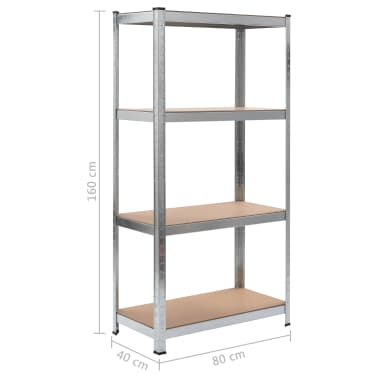 "vidaXL Storage Shelf Silver 31.5""x15.7""x63"" Steel and MDF[8/8]"
