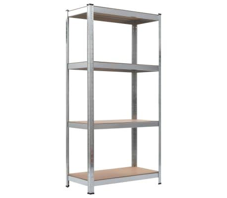 vidaXL Opbergrekken 2 st 80x40x160 cm staal en MDF zilverkleurig[3/10]