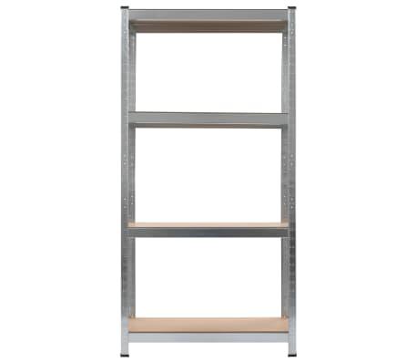 vidaXL Opbergrekken 2 st 80x40x160 cm staal en MDF zilverkleurig[5/10]
