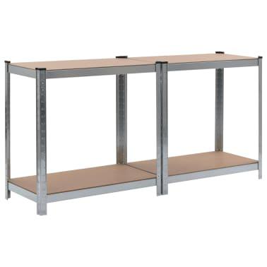 vidaXL Opbergrekken 2 st 80x40x160 cm staal en MDF zilverkleurig[6/10]