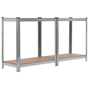 vidaXL Opbergrekken 2 st 80x40x160 cm staal en MDF zilverkleurig[7/10]