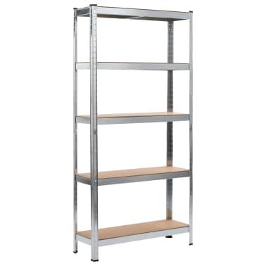 """vidaXL Storage Shelf Silver 35.4""""x11.8""""x70.9"""" Steel and MDF[1/9]"""