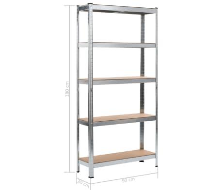 """vidaXL Storage Shelf Silver 35.4""""x11.8""""x70.9"""" Steel and MDF[9/9]"""