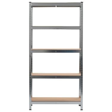 """vidaXL Storage Shelf Silver 35.4""""x11.8""""x70.9"""" Steel and MDF[2/9]"""