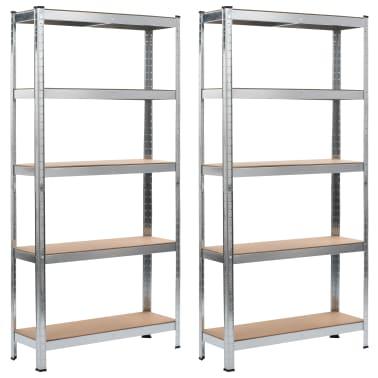 vidaXL Rafturi depozitare, 2 buc., argintiu, 90x30x180cm, oțel și MDF[1/10]