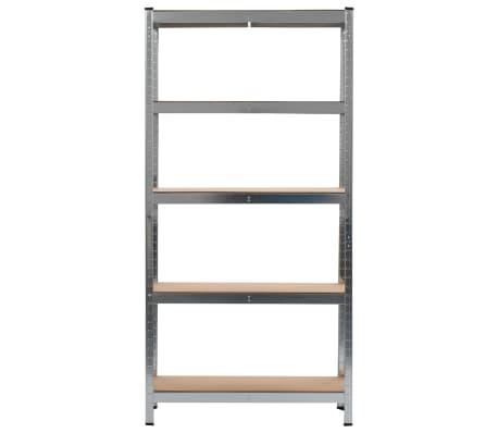 vidaXL Rafturi depozitare, 2 buc., argintiu, 90x30x180cm, oțel și MDF[3/10]