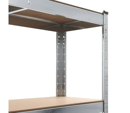 vidaXL Rafturi depozitare, 2 buc., argintiu, 90x30x180cm, oțel și MDF[6/10]