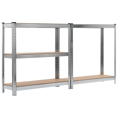 vidaXL Rafturi depozitare, 2 buc., argintiu, 90x30x180cm, oțel și MDF[5/10]