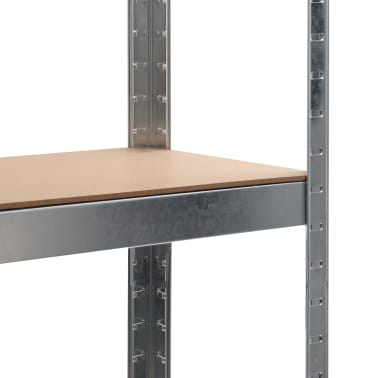 vidaXL Rafturi depozitare, 2 buc., argintiu, 90x30x180cm, oțel și MDF[7/10]