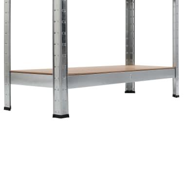 vidaXL Rafturi depozitare, 2 buc., argintiu, 90x30x180cm, oțel și MDF[9/10]