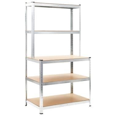 """vidaXL Storage Shelf Silver 29.4""""x23.6""""x70.9"""" Steel and MDF[1/8]"""