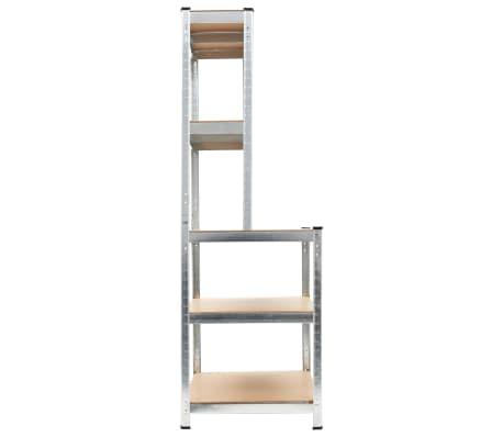 """vidaXL Storage Shelf Silver 29.4""""x23.6""""x70.9"""" Steel and MDF[3/8]"""
