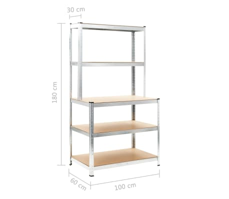 """vidaXL Storage Shelf Silver 29.4""""x23.6""""x70.9"""" Steel and MDF[8/8]"""