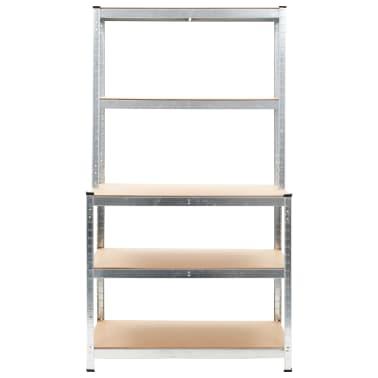 """vidaXL Storage Shelf Silver 29.4""""x23.6""""x70.9"""" Steel and MDF[2/8]"""