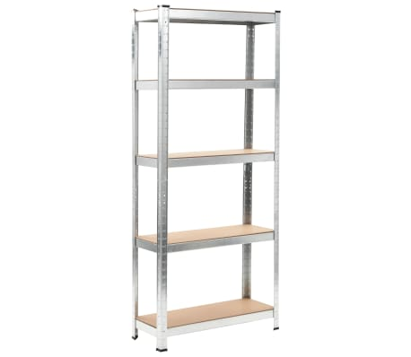 """vidaXL Storage Shelf Silver 29.5""""x11.8""""x67.7"""" Steel and MDF[1/9]"""