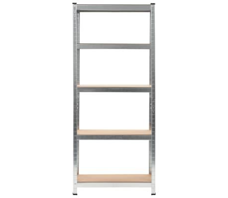 """vidaXL Storage Shelf Silver 29.5""""x11.8""""x67.7"""" Steel and MDF[2/9]"""