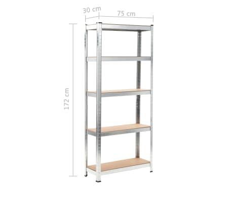 """vidaXL Storage Shelf Silver 29.5""""x11.8""""x67.7"""" Steel and MDF[9/9]"""