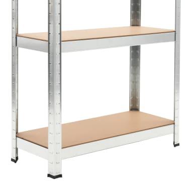"""vidaXL Storage Shelf Silver 29.5""""x11.8""""x67.7"""" Steel and MDF[8/9]"""