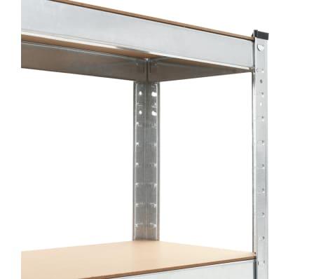 vidaXL Lentynos, 3vnt., sidabrinės sp., 75x30x172cm, plienas ir MDF[6/10]