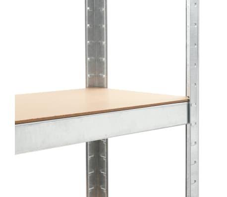 vidaXL Lentynos, 3vnt., sidabrinės sp., 75x30x172cm, plienas ir MDF[7/10]