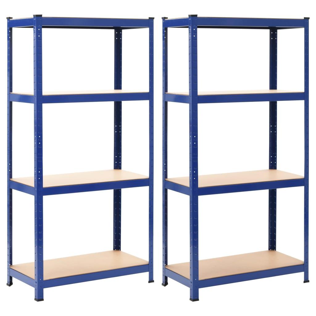 vidaXL Rafturi depozitare, 2 buc., albastru, 80x40x160cm, oțel și MDF vidaxl.ro