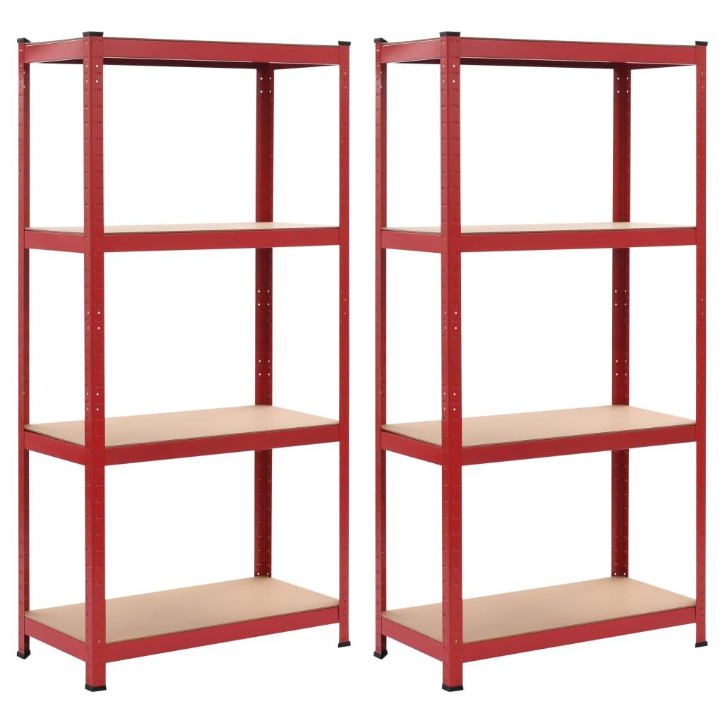 vidaXL Rafturi depozitare, 2 buc., roșu, 80x40x160 cm, oțel și MDF vidaxl.ro