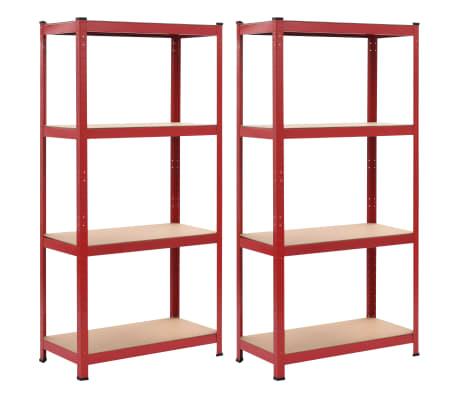 vidaXL Rafturi depozitare, 2 buc., roșu, 80x40x160 cm, oțel și MDF[1/10]