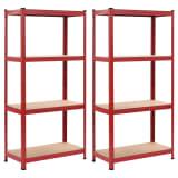 vidaXL Förvaringshyllor 2 st röd 80x40x160 cm stål och MDF