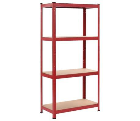 vidaXL Rafturi depozitare, 2 buc., roșu, 80x40x160 cm, oțel și MDF[2/10]